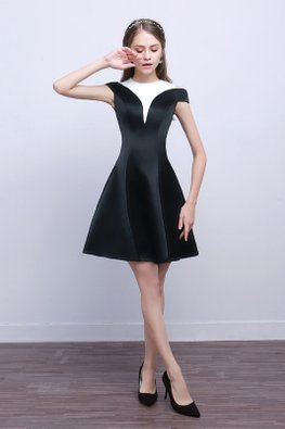 Black White Duo Tone A-Line Satin Dress (Express)