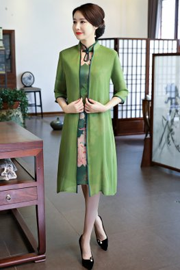 Green 2-pc Keyhole Collar A-Line Cheongsam (Express)