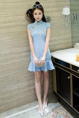 Pastel Blue / Peach Lace Cap Sleeve Mermaid Cheongsam