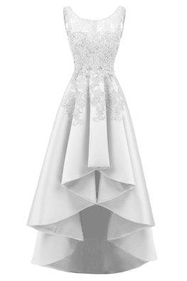 Assorted Colours Jewel Neckline Applique Hi-Lo Gown