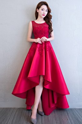 Red Jewel Neckline Applique Hi-Lo Gown (Express)