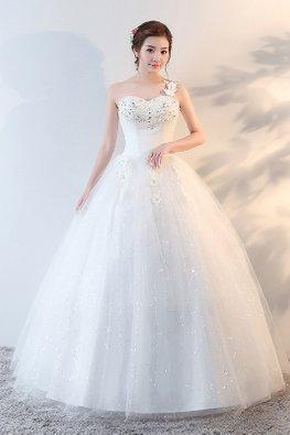 One-Shoulder Rosette Gem Twinkle Skirt Wedding Ball Gown