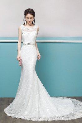 Illusion Neckline Waist Defined Gem Keyhole Back Trumpet Court Train Wedding Gown