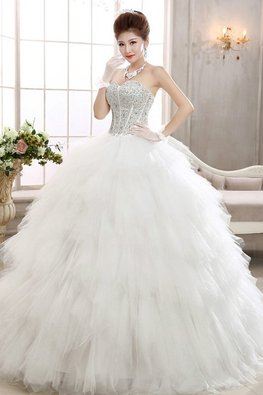 Sweetheart Gem and Sequins Feather Layered Wedding Gown