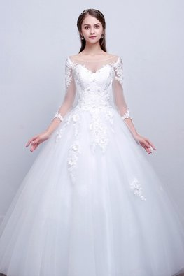 Illusion Bateau Neckline 3/4 Sheer Lace Sleeves Wedding Gown