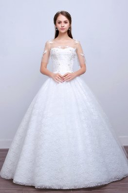 Illusion Neckline Sheer Lace Sleeves Open Back Wedding Gown