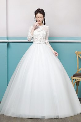 Illusion Lace Neckline 3/4 Sleeves Wedding Gown