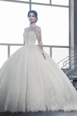 High Neck Illusion Neckline Lace Ball Wedding Gown with Court Train