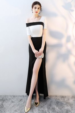Black White Single Off-Shoulder High Slit Gown (Express)