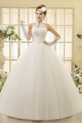 Halter Illusion Lace Neckline Sequins Bodice Wedding Gown