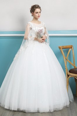 Illusion Jewel Neckline Cape Open Sleeves Twinkle Skirt Wedding Gown