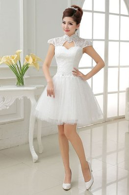 High Neck Lace Cap Sleeves Twinkle Skirt Engagement Gown