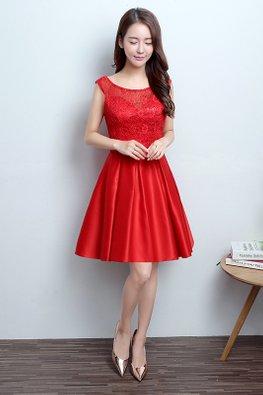 Red Bateau Neckline Bow A-line Dress