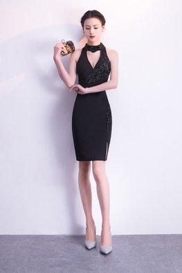 Black Open Keyhole Beaded Side Slit Sheath Dress