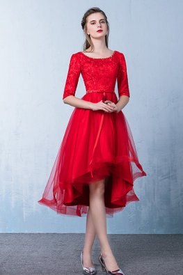 Assorted Colours Elbow Sleeves Lace Hi-Lo Gown