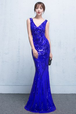 Blue V-Neck Sleeveless Sequin Floor Length Mermaid Gown (Express)