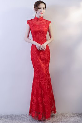 Red Mandarin Collar Cap Sleeves Lace Floor Length Mermaid Cheongsam