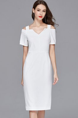 White V-Neck Open Shoulder Column Dress (Express)