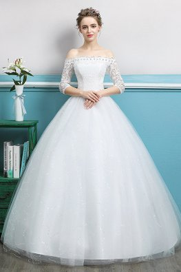 Off-Shoulder Scallop Neckline Elbow Lace Sleeves Wedding Gown