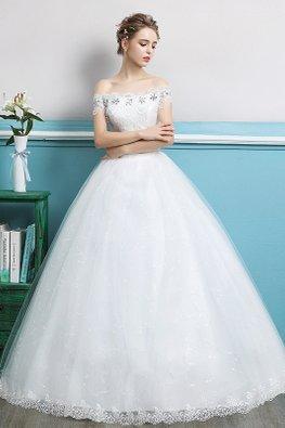Off-Shoulder Floral Gem with Tassels Wedding Gown