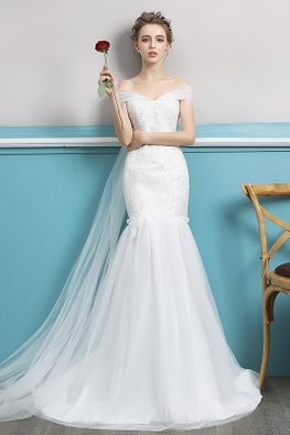 Off-Shoulder Lace Bow Sash Fit and Flare with Court Train Wedding Gown