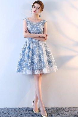 Blue Bateau Neckline Lace A-Line Dress