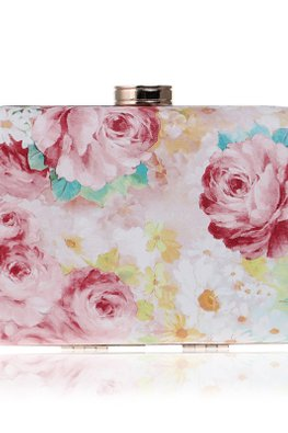 Assorted Colours Rectangular Floral Print Clutch Bag