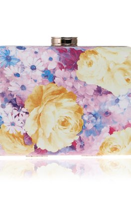 Assorted Colours Rectangular Floral Print Clutch Bag