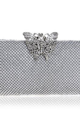Assorted Colours Rectangular Butterfly Diamond Beaded Clutch Bag