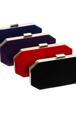 Assorted Colours Angular  Velvet Clutch