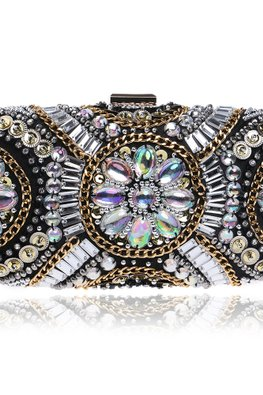 Assorted Colours Gem Floral Beaded Clutch