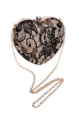 Black / White Lace Heart Shaped Clutch