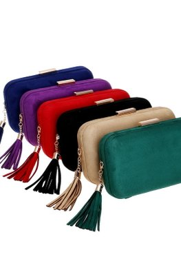 Assorted Colours Suede Clutch Bag with Tassels