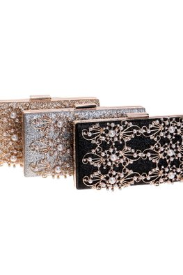 Assorted Colours Diamond Pearls Clutch