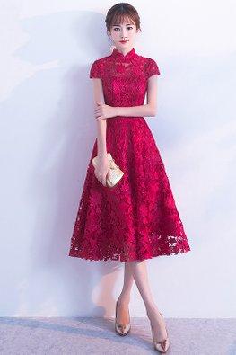 Wine Red Mandarin Collar Cap Sleeves Lace A-line Cheongsam