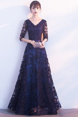 Navy Blue V-Neck Elbow Sleeves Lace Embroidery A-line Gown (Express)