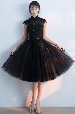 Black Mandarin Collar Cap Sleeves Lace Sequins A-line Cheongsam