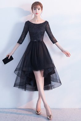 Black Bateau Neckline Elbow Sleeves A-line Hi-Lo Gown (Express)
