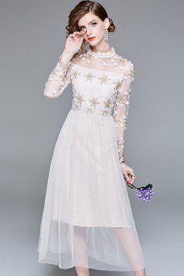 Almond Illusion Round Neck Floral Embroidery A-line Dress