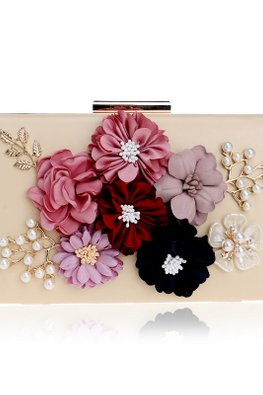 Assorted Colours Rectangular 3D Floral Clutch Bag