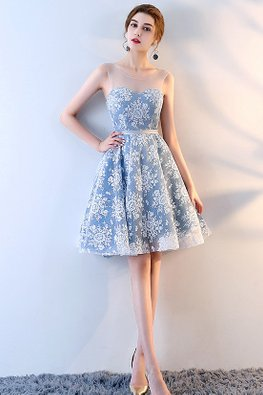 Blue Illusion Neckline Sweetheart Lace A-Line Dress (Express)