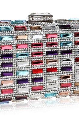 Assorted Colours Rectangular Mixed Jewel Clutch Bag