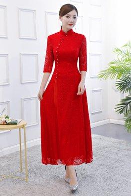 Red / Black Mandarin Collar Elbow Sleeves Ao Dai Lace A-Line Cheongsam