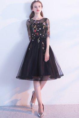 Black Illusion Neckline Floral Embroidery Open Back  A-line Dress
