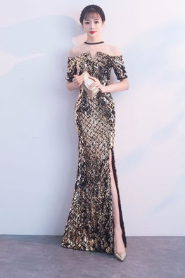 Black Gold Illusion Neckline Sequin High-Slit Mermaid Gown (Express)