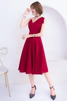 Wine Red Asymmetrical Neckline Sleeveless A-line Dress (Express)
