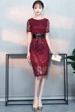Assorted Colours Bateau Neck Illusion Sleeves Beaded Embellishments Sheath Dress