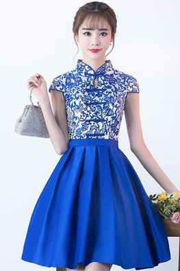 Blue Mandarin Collar Keyhole Chinese Knots A-Line Cheongsam
