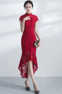 Red Mandarin Collar Cap Sleeves Hi-Lo Lace Cheongsam (Express)