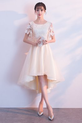 Champagne Round Neck Lace Butterfly Sleeves Hi-Lo Gown